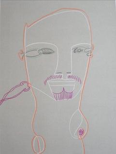 Surrealist Portrait of a Man in Graphite & Pastel, Circa Late 20th Century