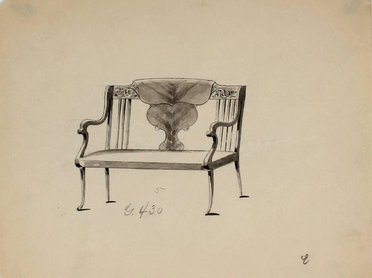 Gottlieb Buehler Still-Life - Study of a Settee, Ink and Graphite, Circa 1920s