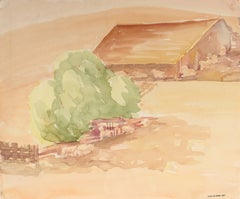 California Landscape with Barn, Mid 20th Century Watercolor Painting