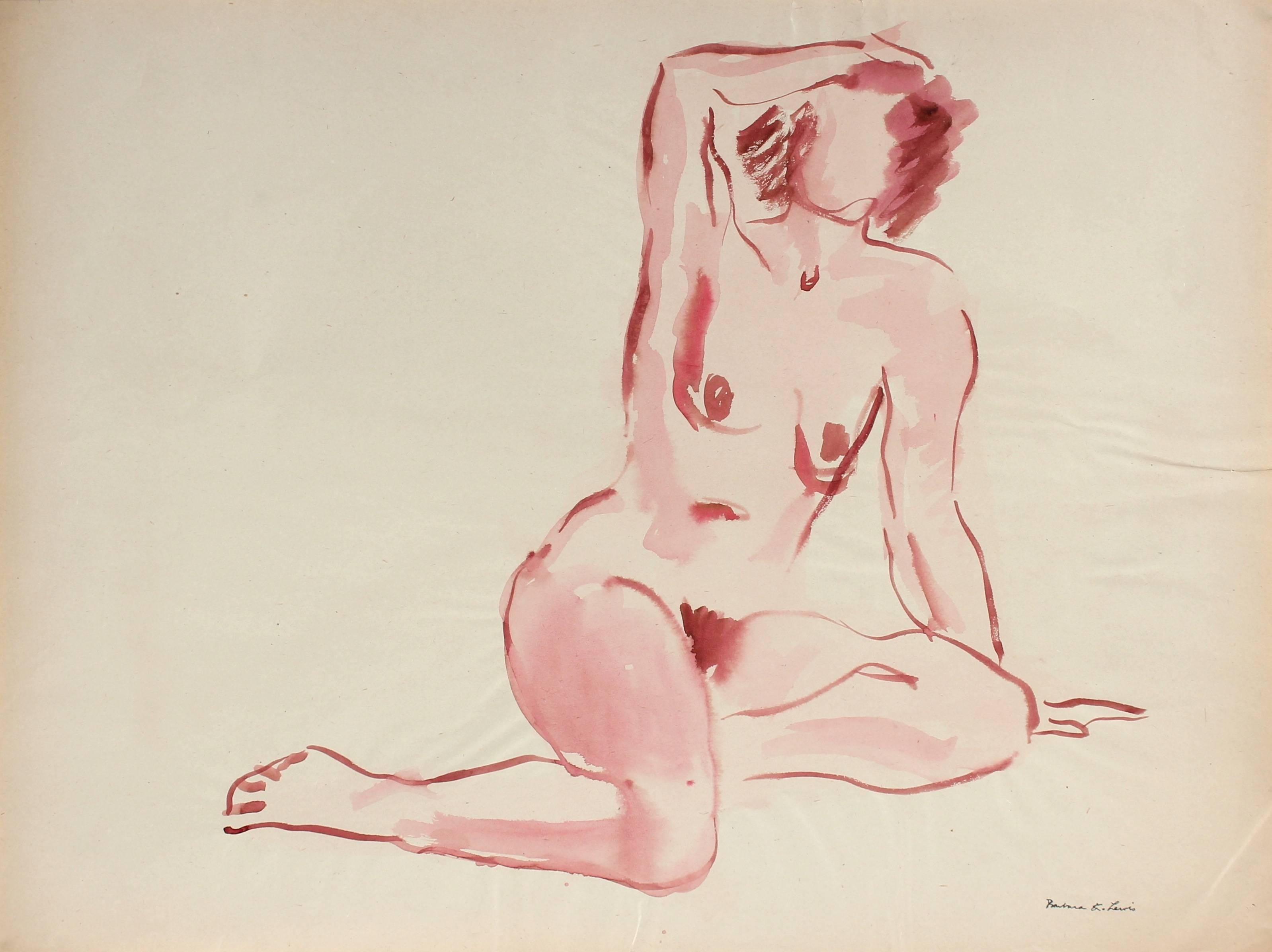 Soft Figure in Pink, Watercolor Painting, Circa 1940s