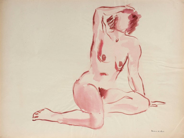 Barbara Lewis Figurative Art - Soft Figure in Pink, Watercolor Painting, Circa 1940s