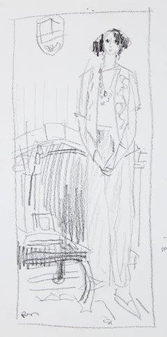 Monochromatic Female Figure, Ink Wash on Paper, 20th Century