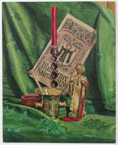Detailed Still Life in Green, Oil on Paper, 1940