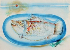 Still Life with Fish on a Plate, Watercolor & Ink Drawing, 1998