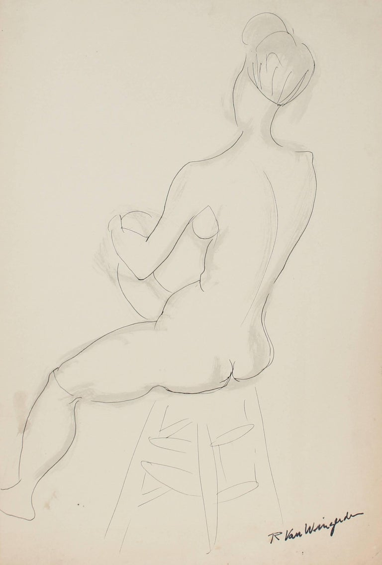 Richard Van Wingerden Nude - Seated Expressionist Figure in Ink, Mid 20th Century