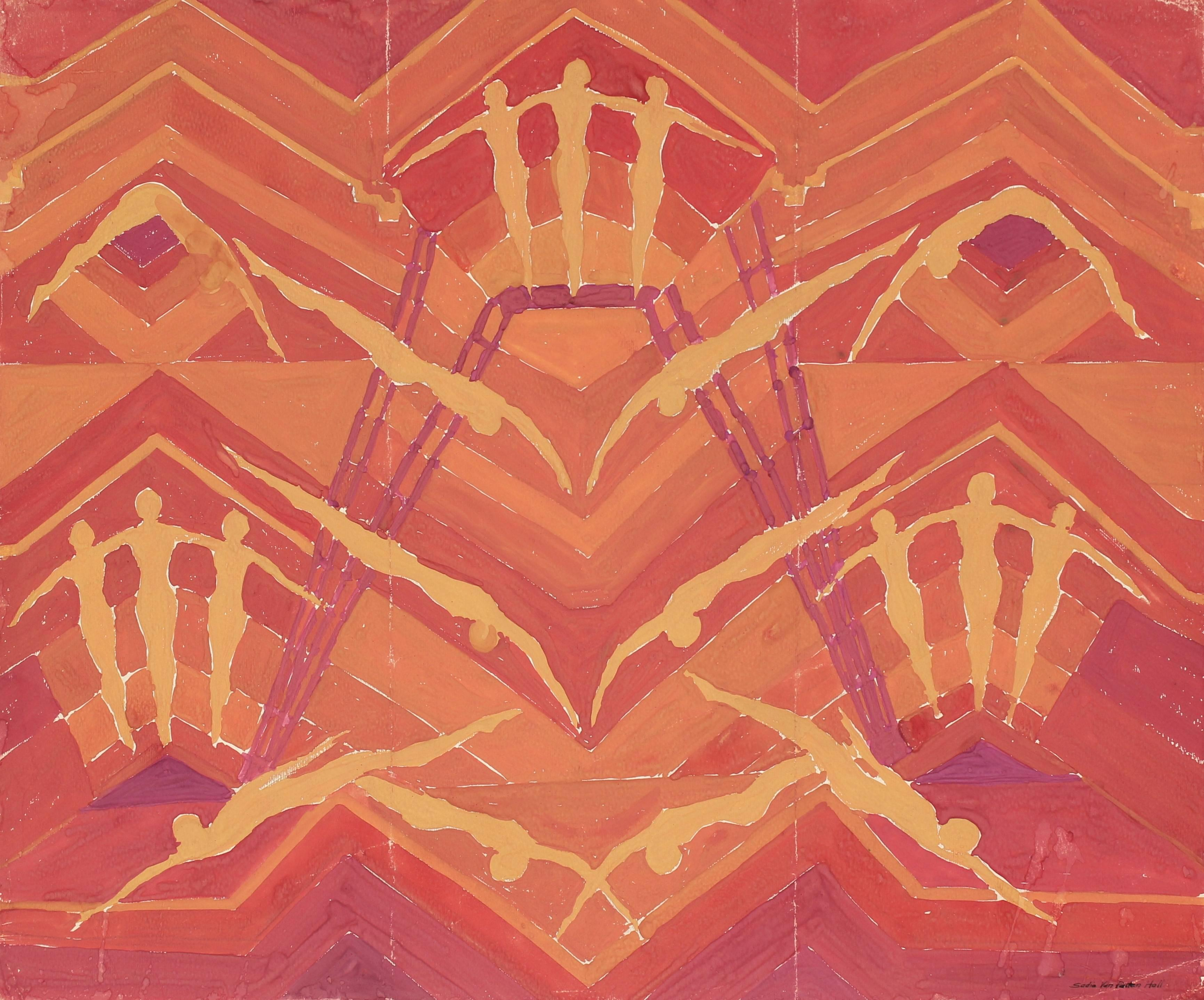Abstract with Swimmers in Warm Tones, Gouache Painting, Circa 1950s