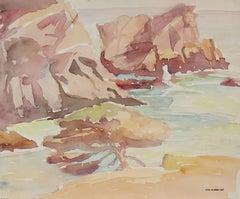 California Coastal Seascape in Watercolor, Circa 1950s