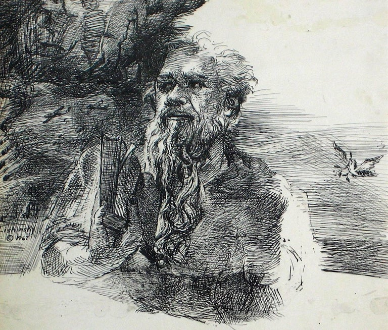 This 1967 monochromatic ink on paper portrait of a man in a park is by Bronx/New York artist Saul Lishinsky (1922-2012). Lishinsky studied with Hans Hofmann in Provincetown, and attended the Art Students League in New York City. Lishinsky showed at