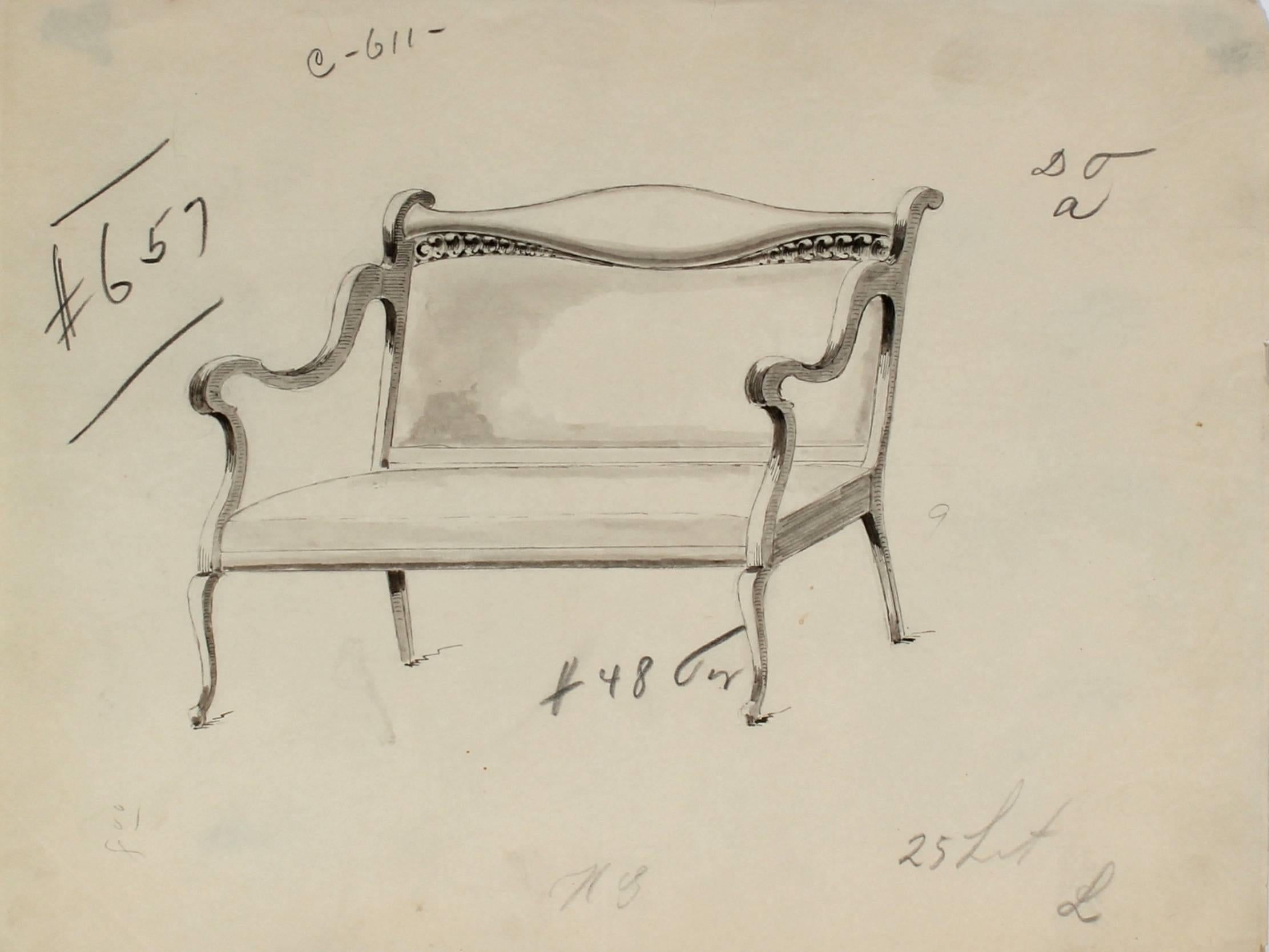 Early 20th Century Furniture Sketch, Ink and Graphite