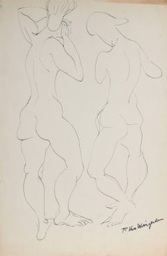 Two Expressionist Figures in Ink, Mid 20th Century