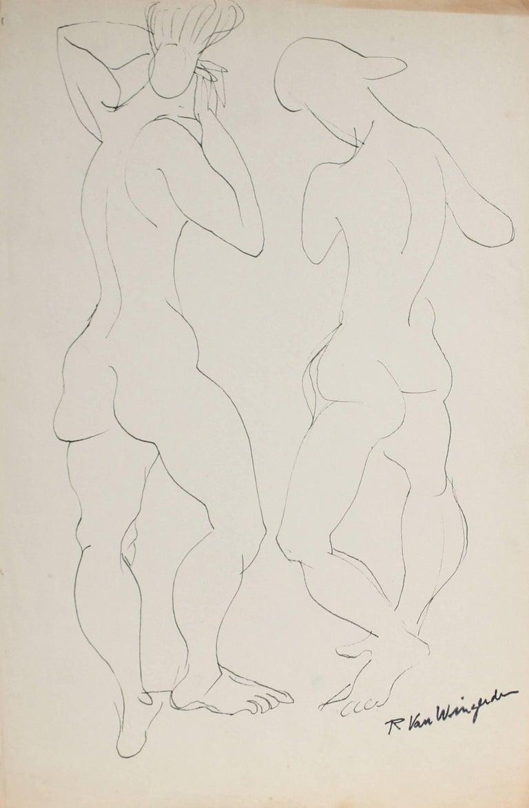 Richard Van Wingerden Nude - Two Expressionist Figures in Ink, Mid 20th Century