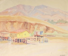 Bay Area Coastal Landscape in Watercolor, Circa 1950s