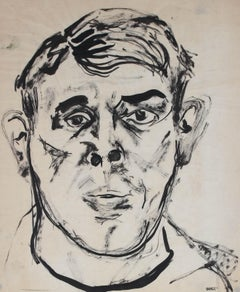 Expressionist Portrait of a Man, Ink Drawing, Mid 20th Century