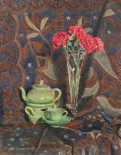 Detailed Realist Still Life with Tea Set, Watercolor on Paper, 1938
