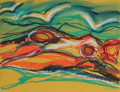 """Woman in Seascape"" Bright Abstract in Pastel, 20th Century"