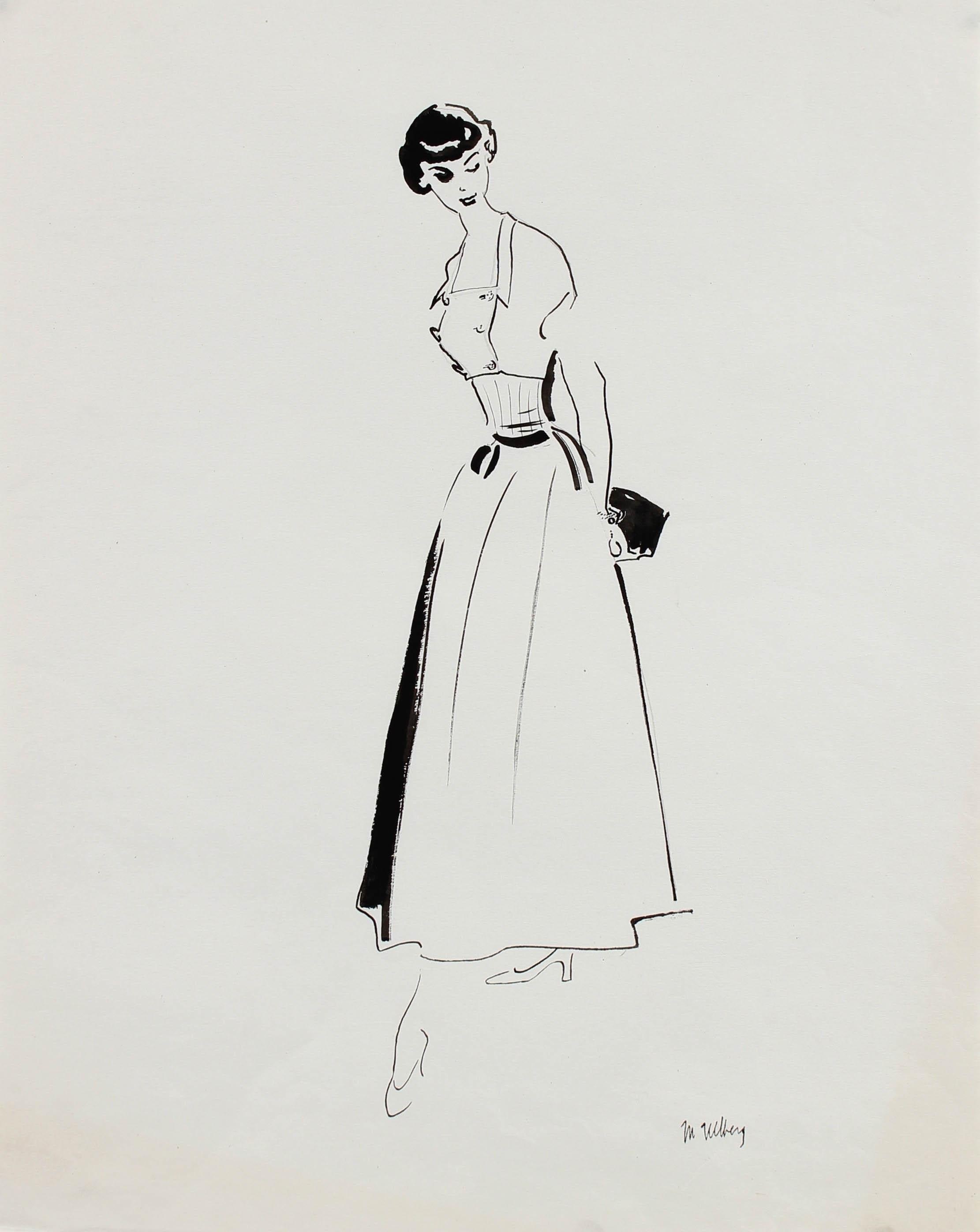 Monochromatic Mid Century Fashion Illustration, Circa 1950