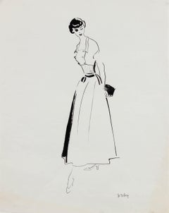 Monochromatic Mid Century Fashion Illustration, Circa 1950