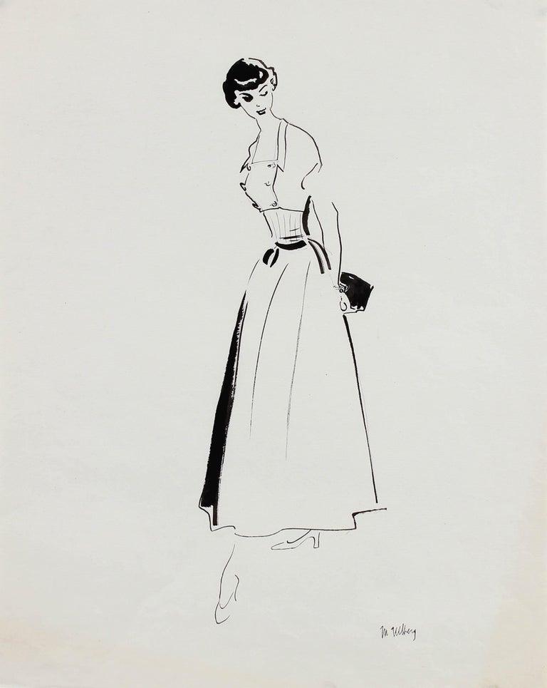 Marjorie Ullberg Portrait - Monochromatic Mid Century Fashion Illustration, Circa 1950