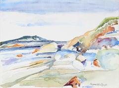 Marin, CA Coastal Landscape in Watercolor, Late 20th Century
