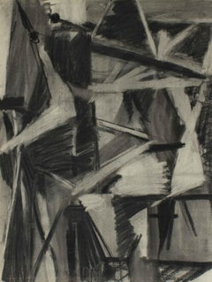 Monochromatic Cubist Abstract in Charcoal, 1950
