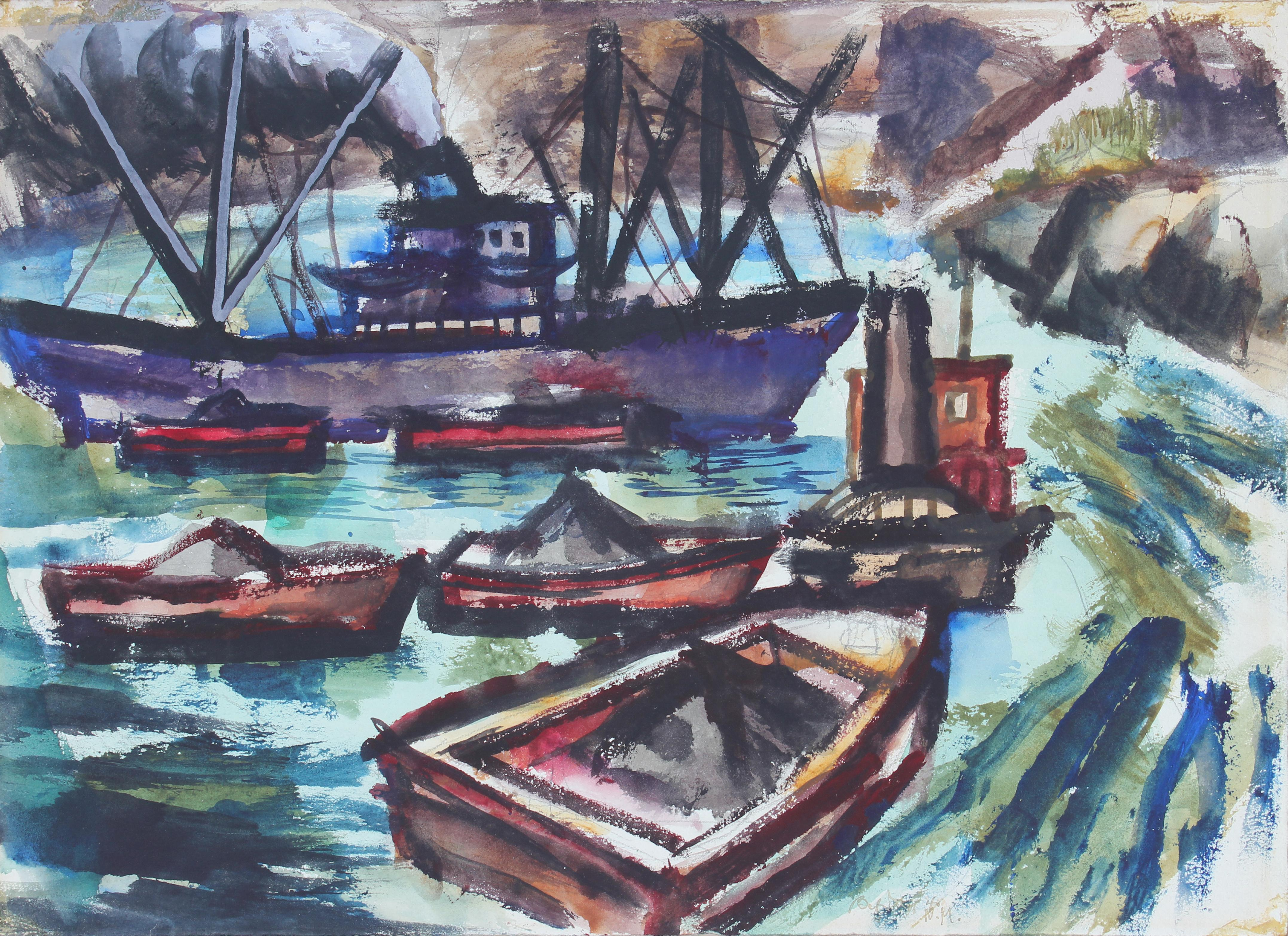 Harbor with Boats, Watercolor Painting, 1943