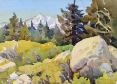 """High Sierra Woodland"" Watercolor Landscape Painting, Late 20th Century"