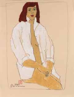 Female Figure in a White Shirt, Charcoal & Gouache Painting, Late 20th Century