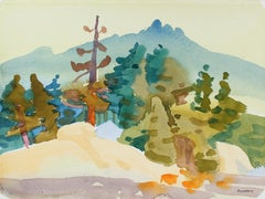 """Silver Lake II"" Watercolor Landscape Painting, 2001"