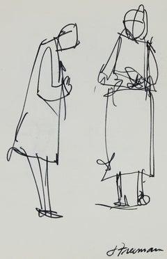 Minimalist Figure Drawings in Ink, Circa 1970s