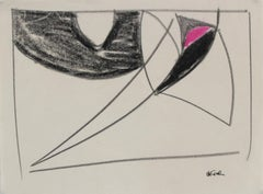 Minimalist Abstract in Pink & Black Pastel, Late 20th Century