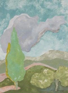 """Tuscan Landscape IV"" Gouache on Paper, 2018"