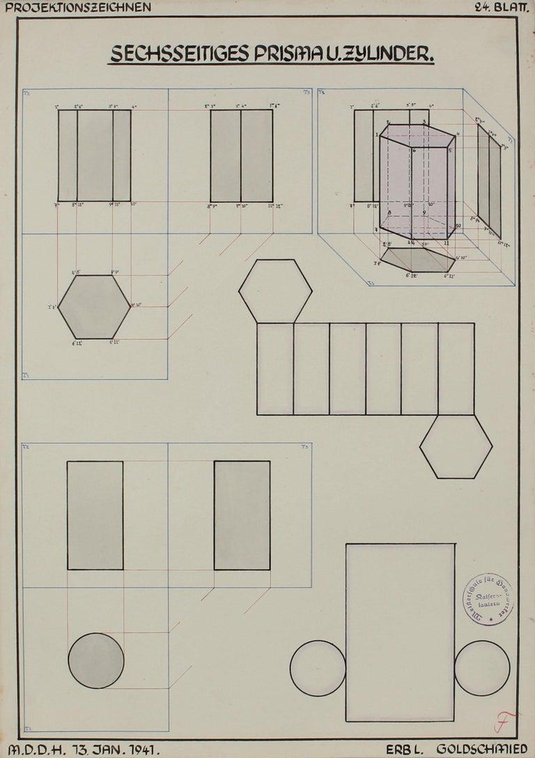 Leo Erb Abstract Drawing - Geometric German Engineering Diagram in Watercolor & Ink, 1941