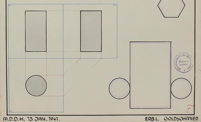 Geometric German Engineering Diagram in Watercolor & Ink, 1941 - Art by Leo Erb
