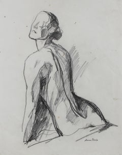 Posing Female Nude, Graphite on Paper, Late 20th Century