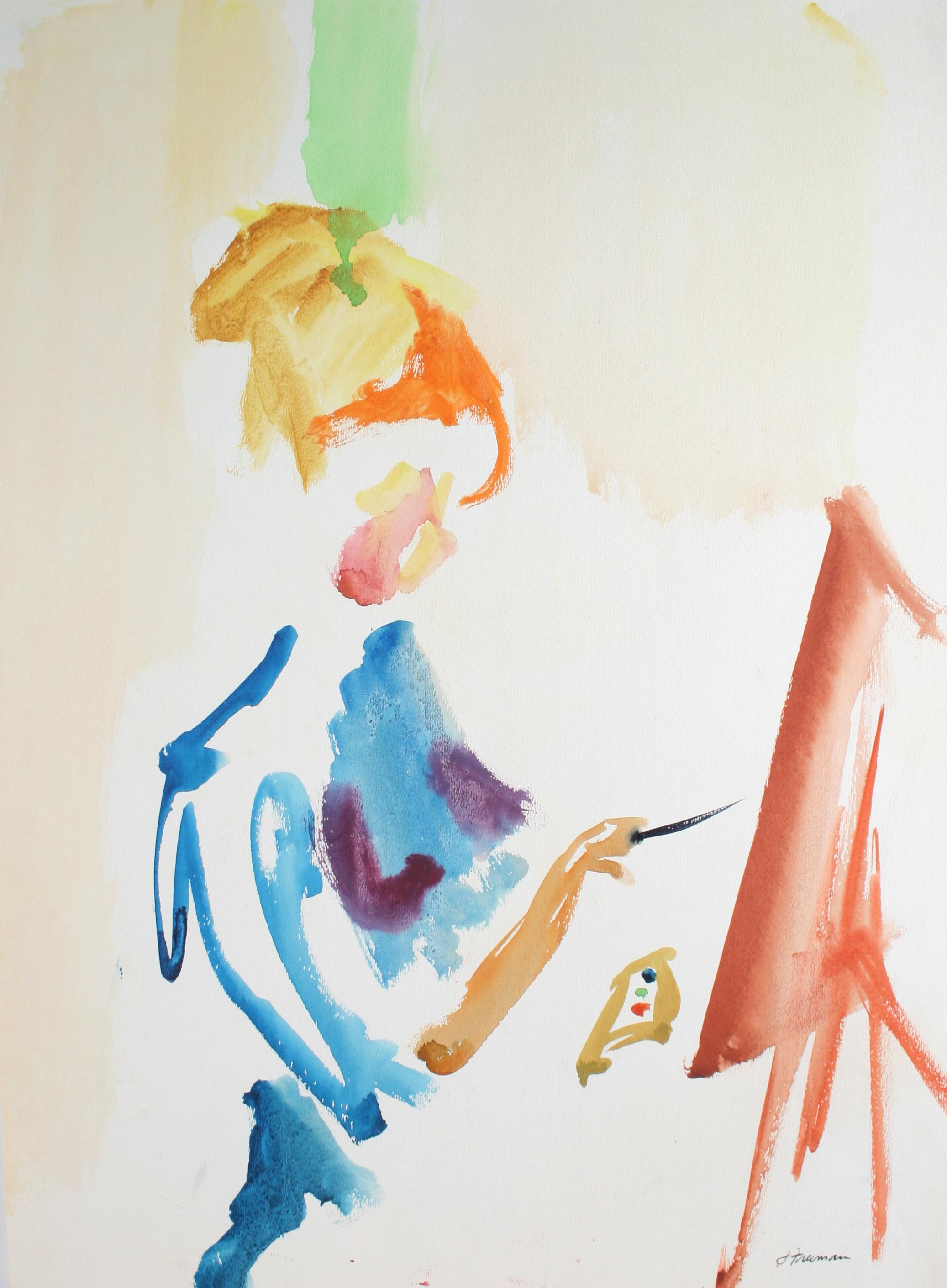Portrait of a Female Artist, Watercolor on Paper, 20th Century