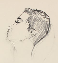 Modernist Portrait in Graphite, Late 20th Century Drawing