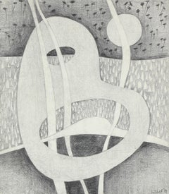 Black and White Surrealist Abstract in Graphite, 1979