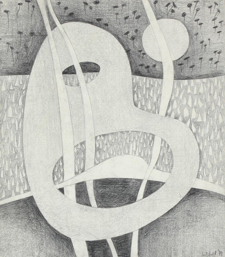 Jane Mitchell Abstract Drawing - Black and White Surrealist Abstract in Graphite, 1979