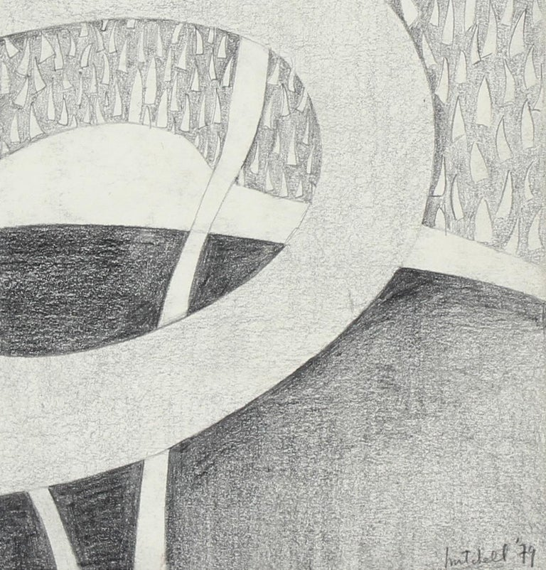 Black and White Surrealist Abstract in Graphite, 1979 - Art by Jane Mitchell