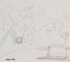 Neighborhood Street Scene, Graphite Drawing, Circa 1960s