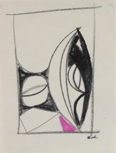 Petite Geometric Abstract in Pastel, Late 20th Century