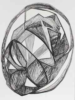 Large Monochromatic Cubist Abstract in Ink, Late 20th Century