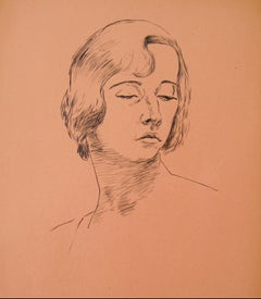 Portrait of a Woman in Ink, Mid 20th Century