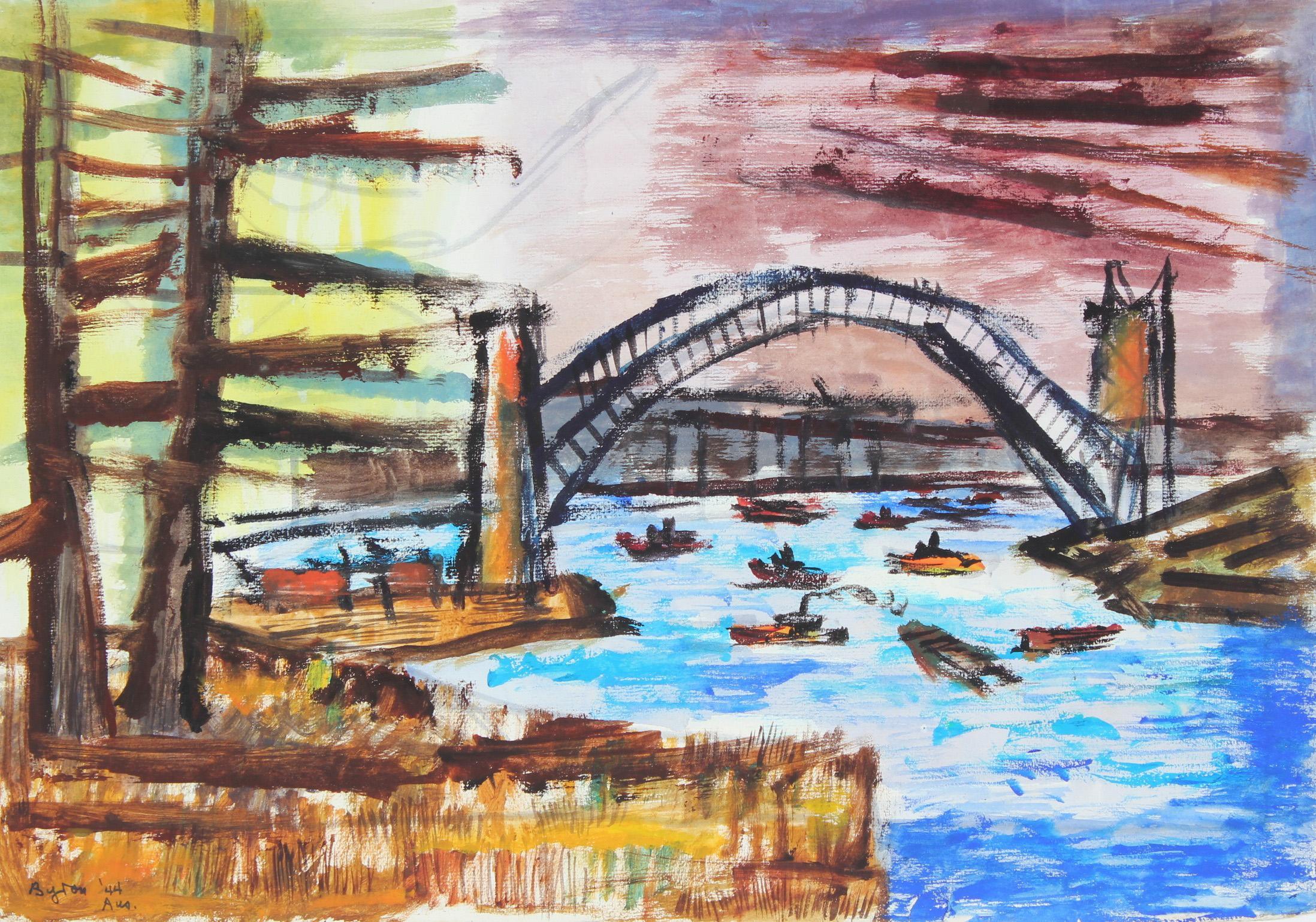 """Bridge- Sydney Harbor"" Australian Seascape in Gouache, 1944"