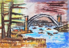 """Bridge- Sydney Harbor"" Australian Seascape in Gouache, 1944"