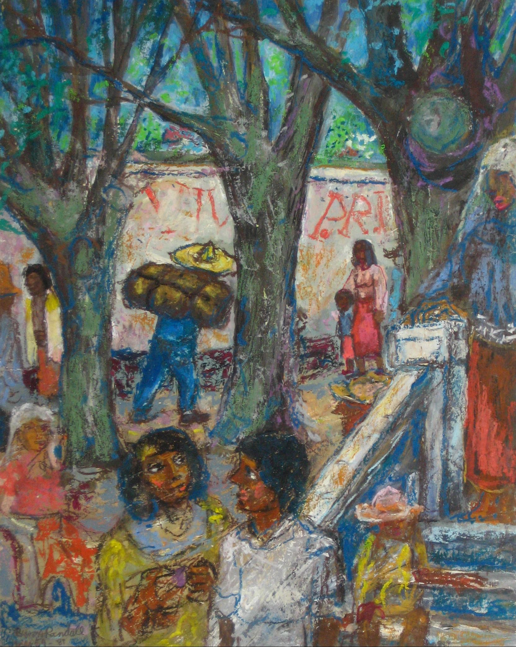 Mexican Plaza, Oil Pastel Drawing, 1954