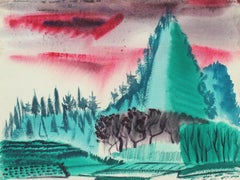 """Okinawa"" Japanese Landscape in Watercolor, 1945"