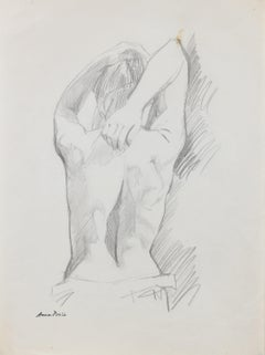 Figure from Behind, Graphite on Paper Drawing, Late 20th Century