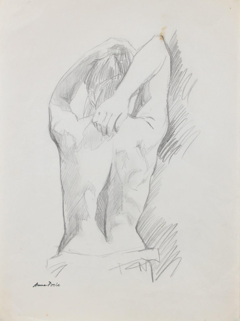 Anna Poole Nude - Figure from Behind, Graphite on Paper Drawing, Late 20th Century