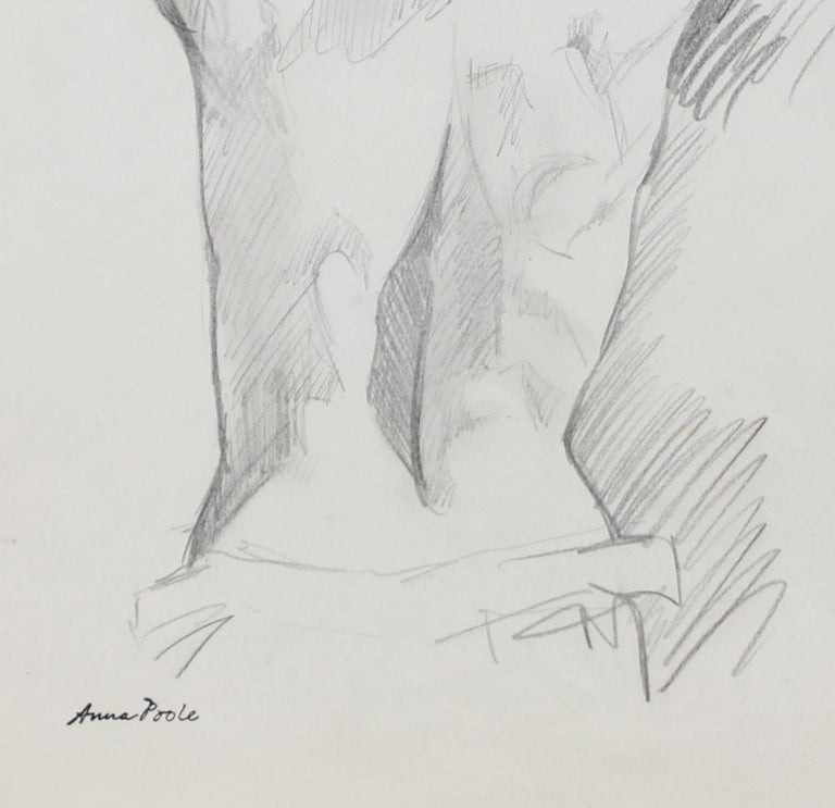 Figure from Behind, Graphite on Paper Drawing, Late 20th Century - Art by Anna Poole